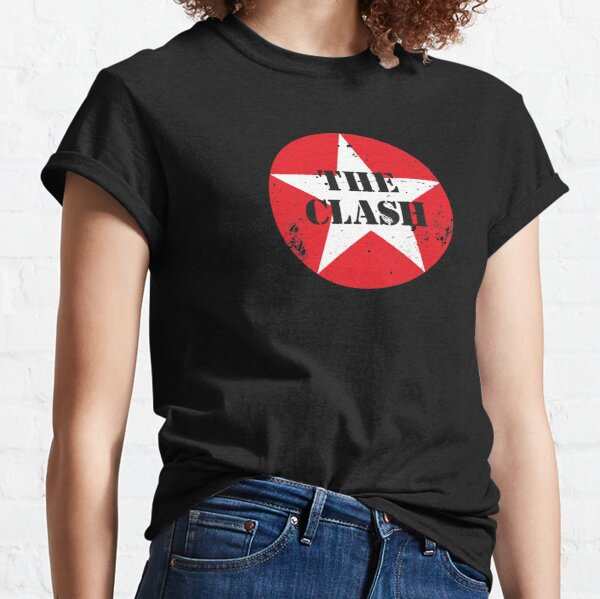 Clash Red Blocks Band Image Black T Shirt New Official