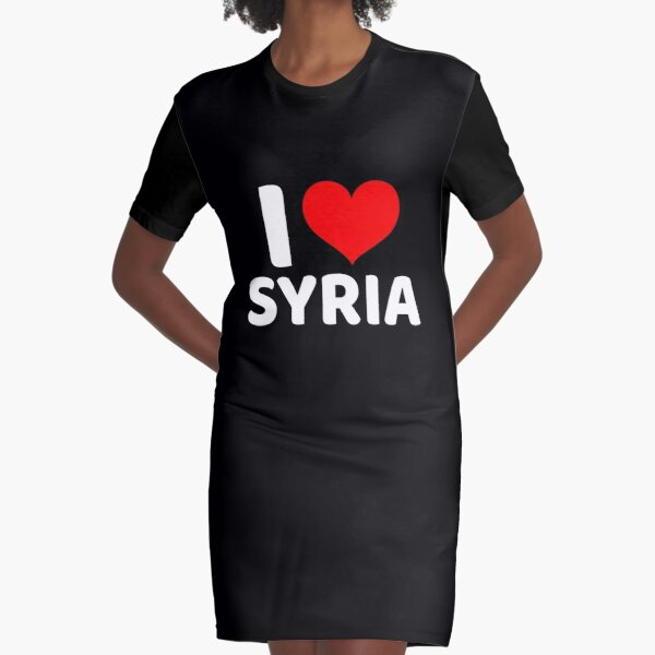 I love Syria with a red heart Graphic T-Shirt Dress