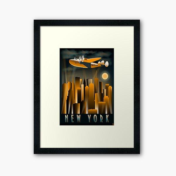 Art Deco Tall High Rise  Buildings New York City Air Plane Vintage A Dreamer`s City Framed Art Print