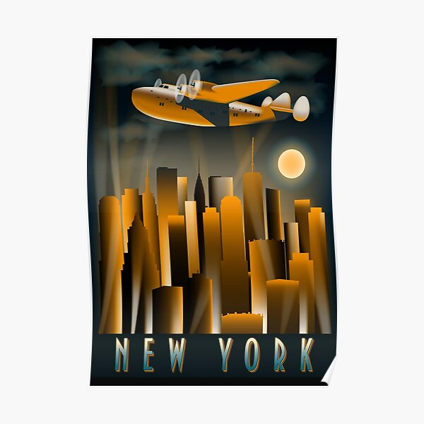 Art Deco Tall High Rise  Buildings New York City Air Plane Vintage A Dreamer`s City Poster