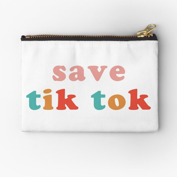 Save Tik Tok Pink + Rainbow Design Zipper Pouch