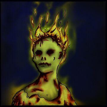 Flaming Zombie by vibeakimbo