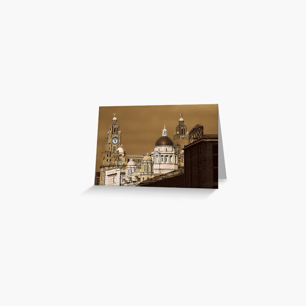 Liver Buildings, Liverpool, UK. Greeting Card