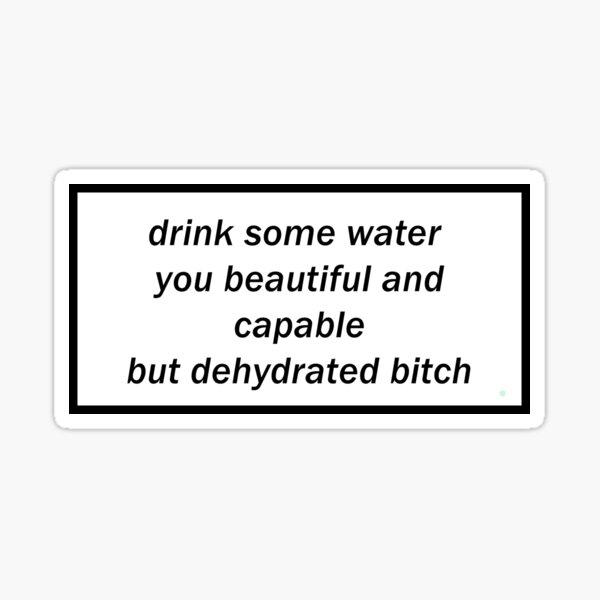 bebe un poco de agua hermosa y capaz pero perra deshidratada Pegatina