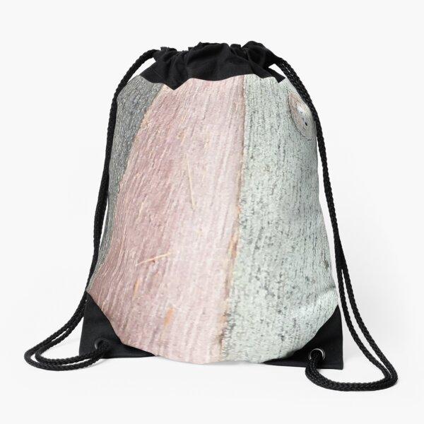 pink & grey bark textures Drawstring Bag