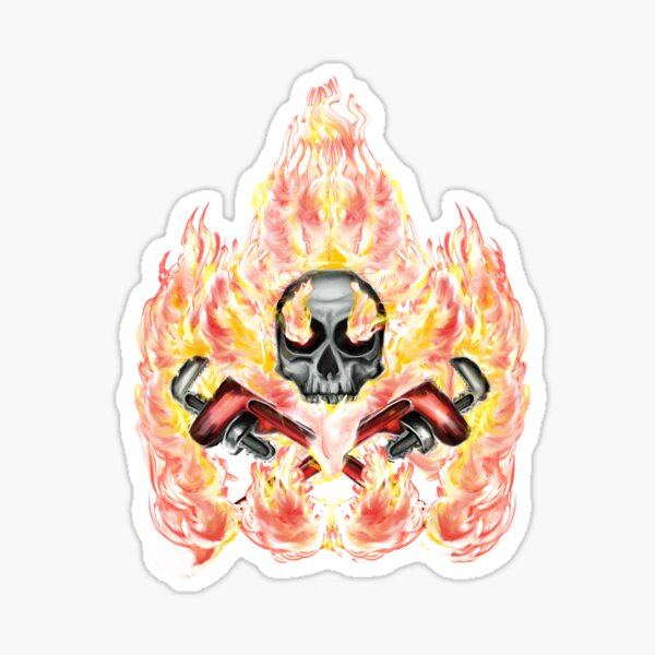 fire skull wrenches Sticker