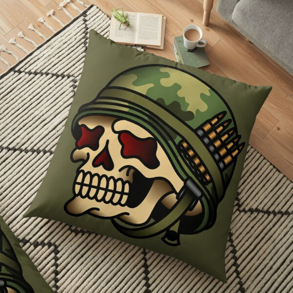 Vintage American War Skull Floor Pillow