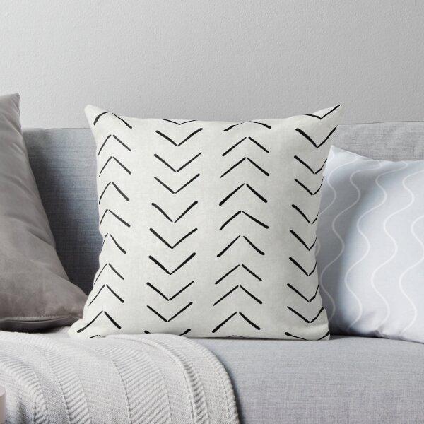 Black and white boho mudcloth Throw Pillow