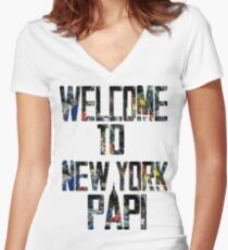 Welcome to New York Papi Women's Fitted V-Neck T-Shirt