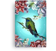Junebug Green Hummingbird with Jasmine Orchids Flowers Canvas Print