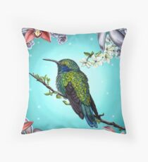 Junebug Green Hummingbird with Jasmine Orchids Flowers Throw Pillow