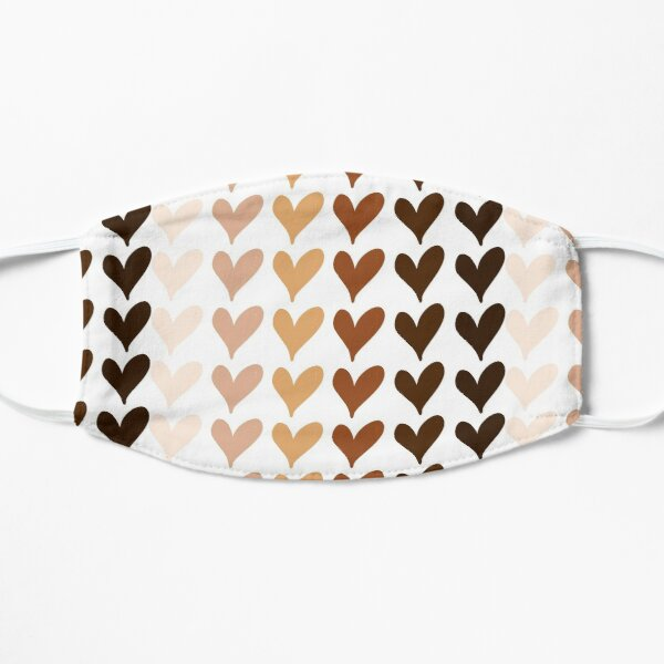 Black Lives Matter Hearts Emoji Flat Mask