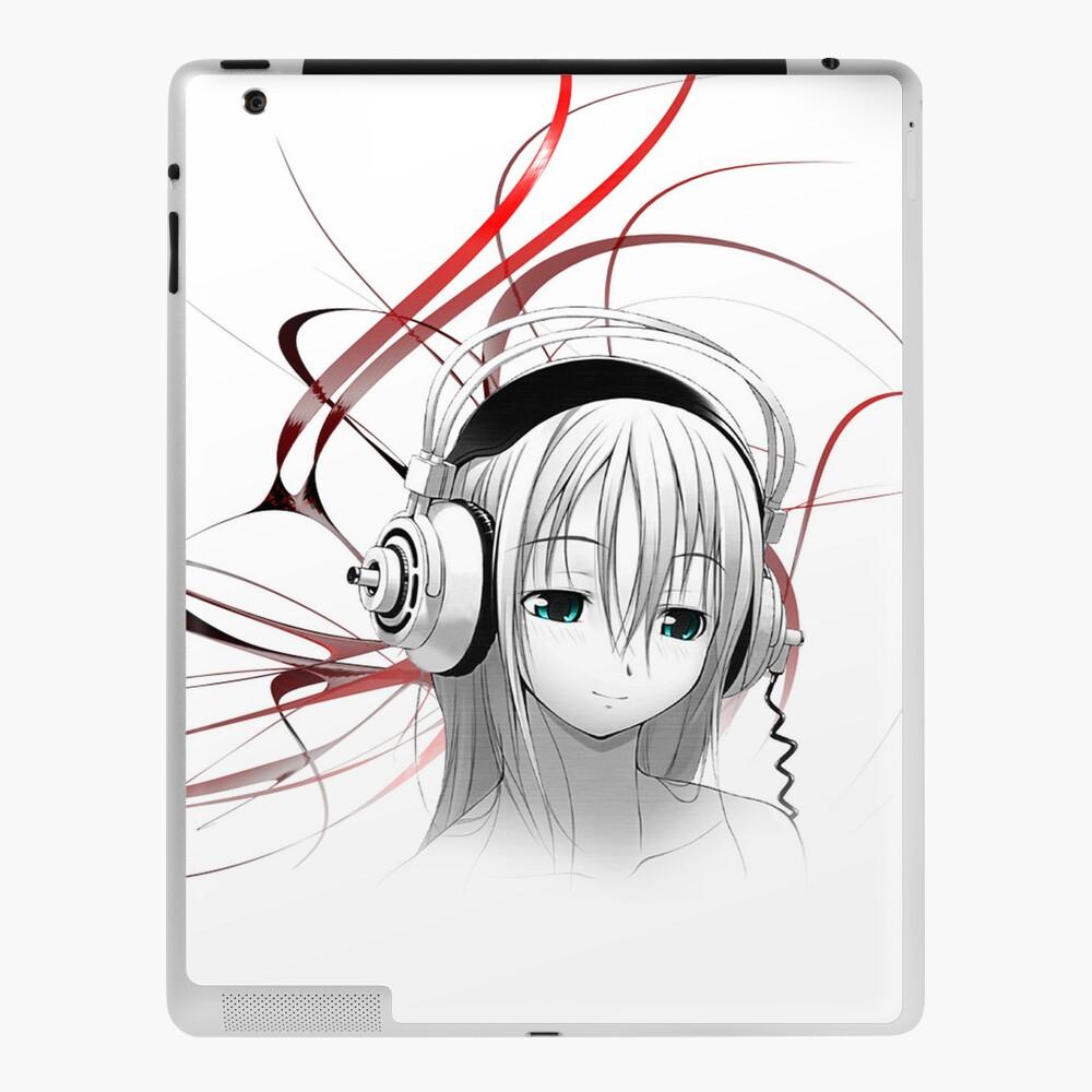 Anime Girl Headphones 1 5 Ipad Case Skin By Tmwilson Redbubble