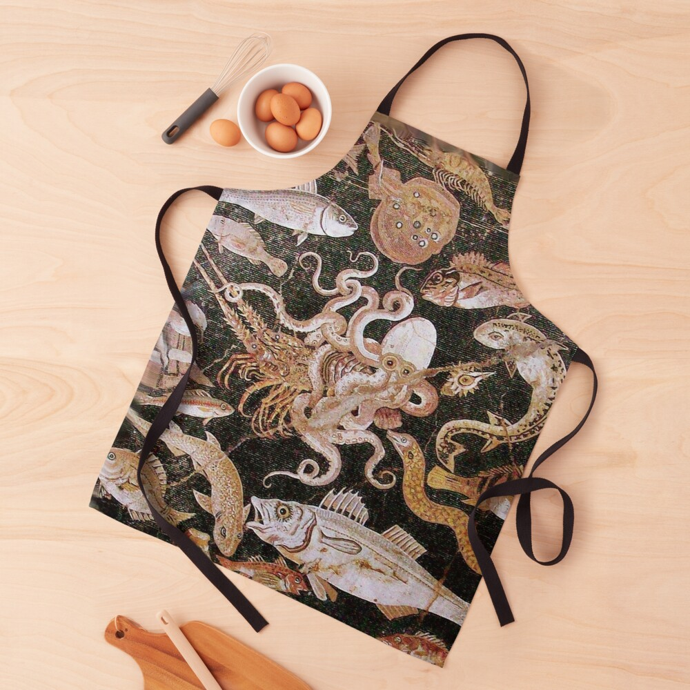POMPEII COLLECTION / ANTIQUE OCEAN - SEA LIFE SCENE,OCTOPUS AND FISHES Apron