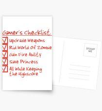 Gamer Checklist Postcards