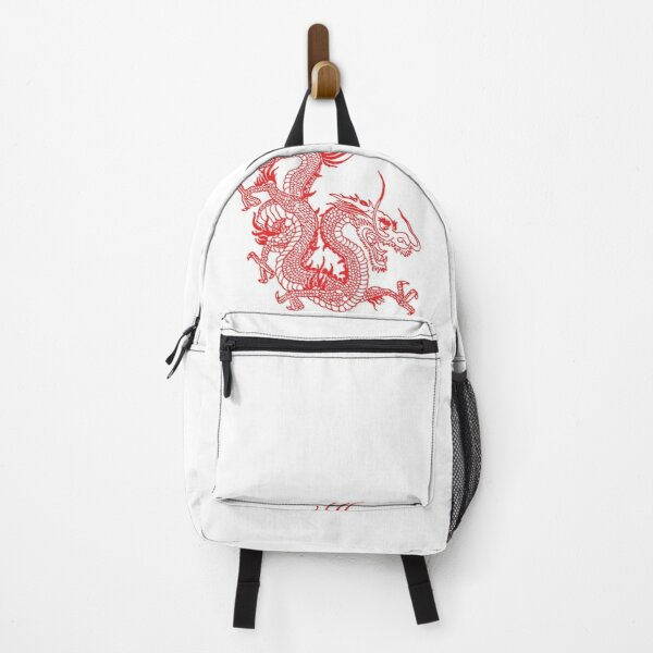 Red Chinese Dragon / White background Backpack