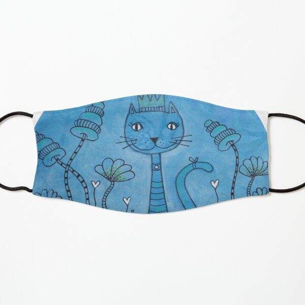 Blue Cat Doodle Artwork Kids Mask