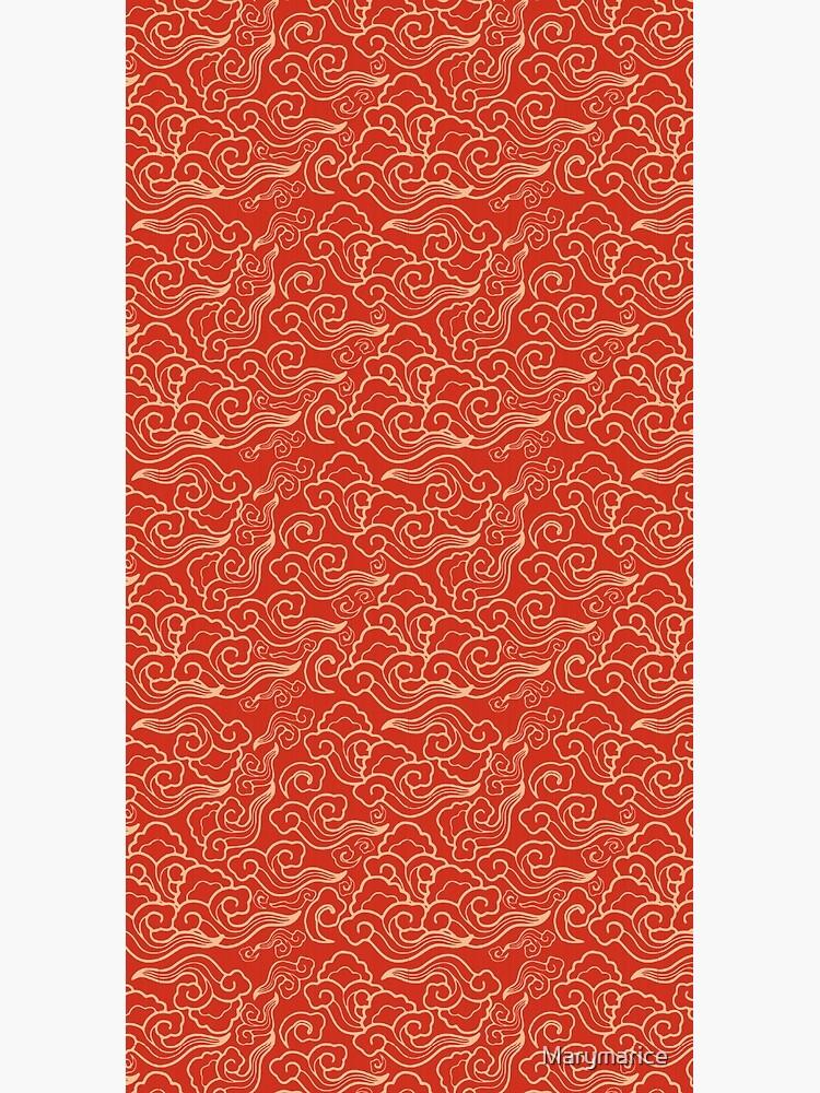Vintage Japanese Clouds, Coral Orange  by Marymarice