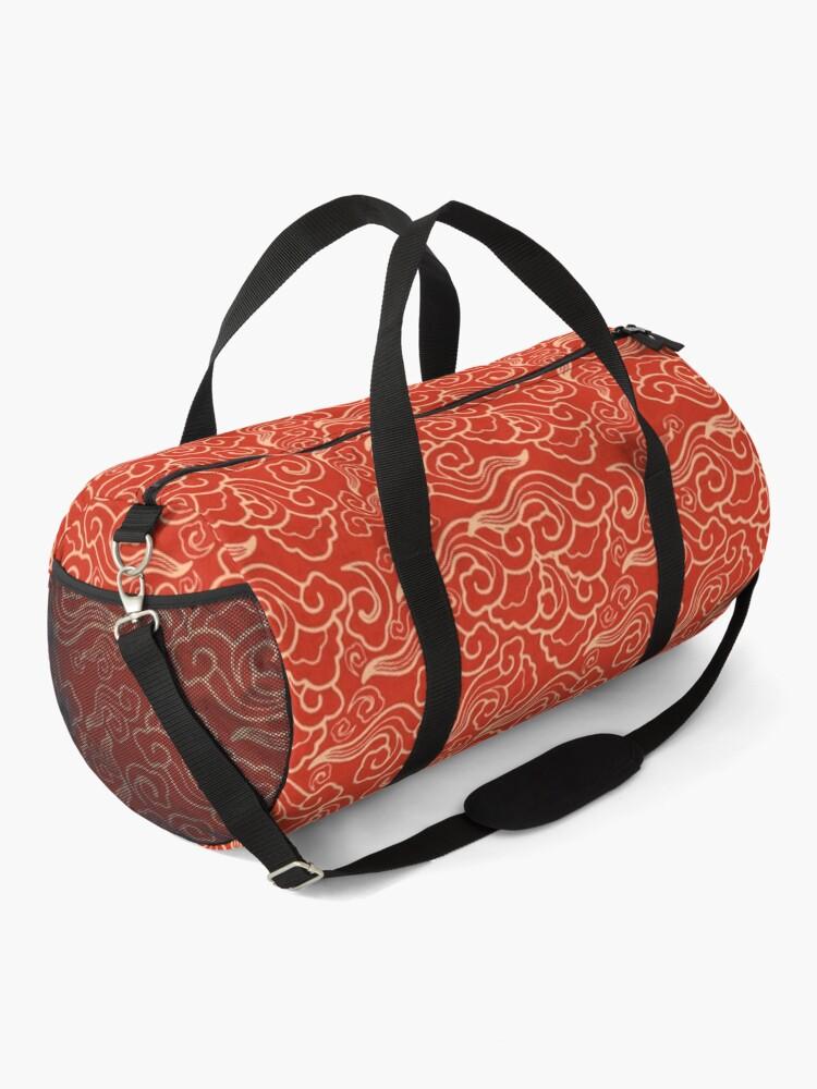 Alternate view of Vintage Japanese Clouds, Coral Orange  Duffle Bag