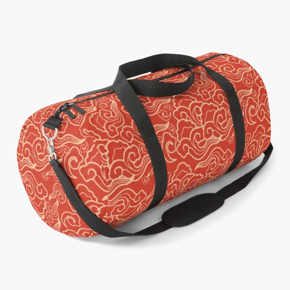 Vintage Japanese Clouds, Coral Orange  Duffle Bag