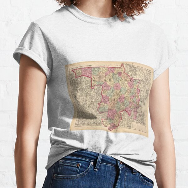 Vintage Map of Middlesex County MA (1871) Classic T-Shirt
