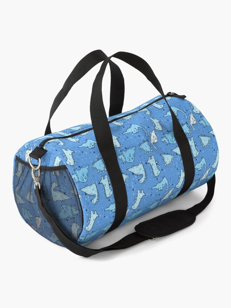 Alternate view of Pale Blue Dinosaur Pattern Duffle Bag