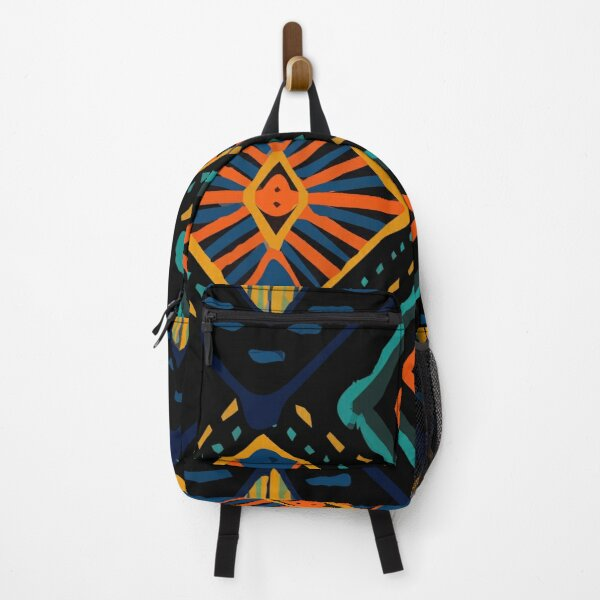 Coral retro tie dye indigo carpet pattern Backpack
