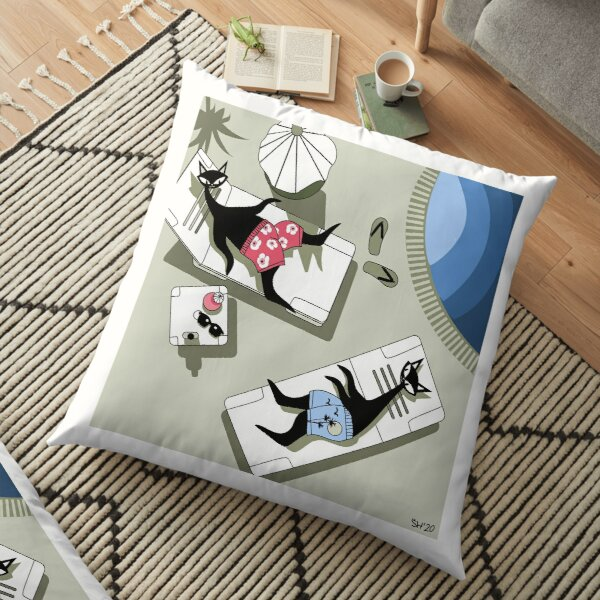 Mid Century Modern Atomic Cats On Vacation In Riviera Maya, Mexico Floor Pillow