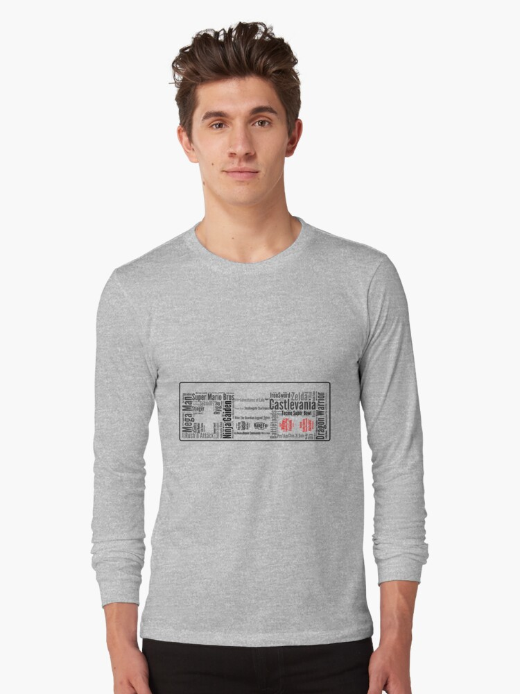 NES controller word cloud Long Sleeve T-Shirt Front