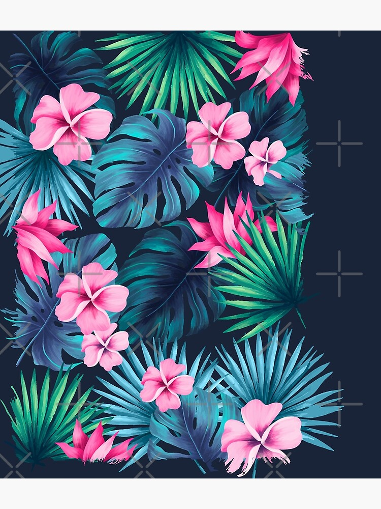 Maximalist Hawaiian Hibiscus Floral with Stripes by younessrex