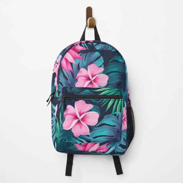Maximalist Hawaiian Hibiscus Floral with Stripes Backpack