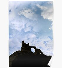 Mow cop castle on rocks in silhouette Poster