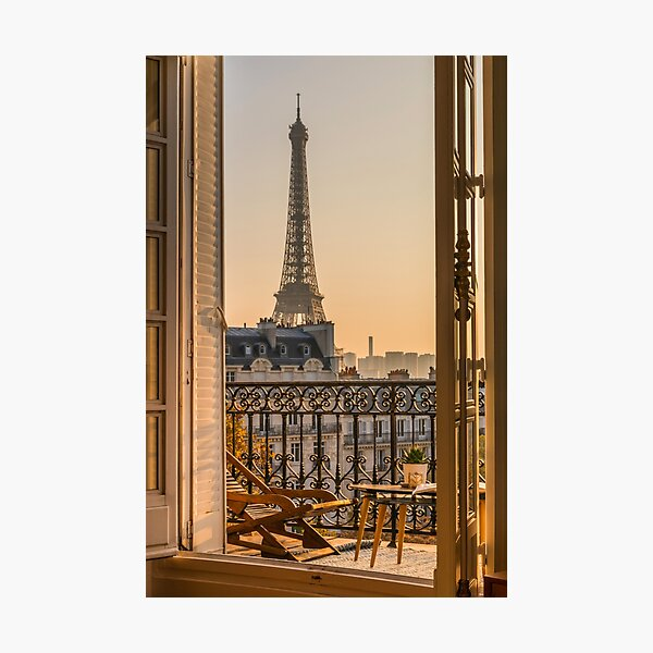 stunning Eiffel Tower view from Paris balcony at sunset  Photographic Print