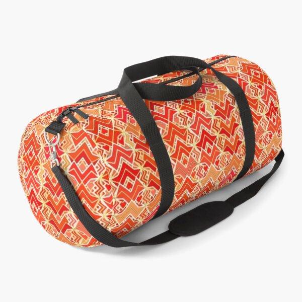 Tribal Batik Print, Mandarin and Light Orange Duffle Bag