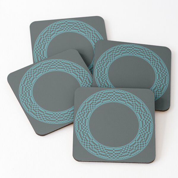 Double Norwich Court Bob Major Method Wreath — Coasters (Blue) Coasters (Set of 4)