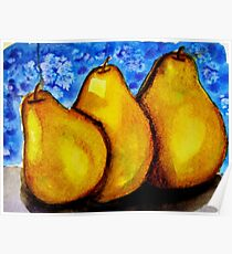 Watercolor and Acrylic Pears Poster