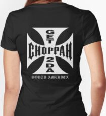GET 2 DA CHOPPAH (White) Women's Fitted V-Neck T-Shirt