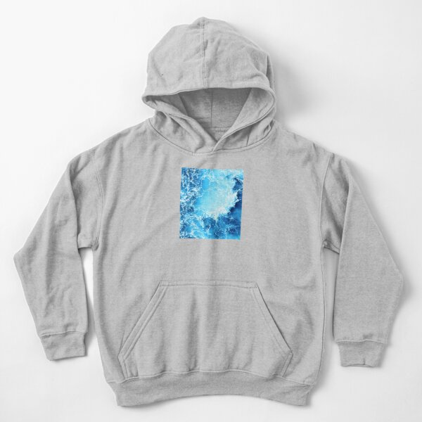 Abstract Blue Ocean Waves Kids Pullover Hoodie