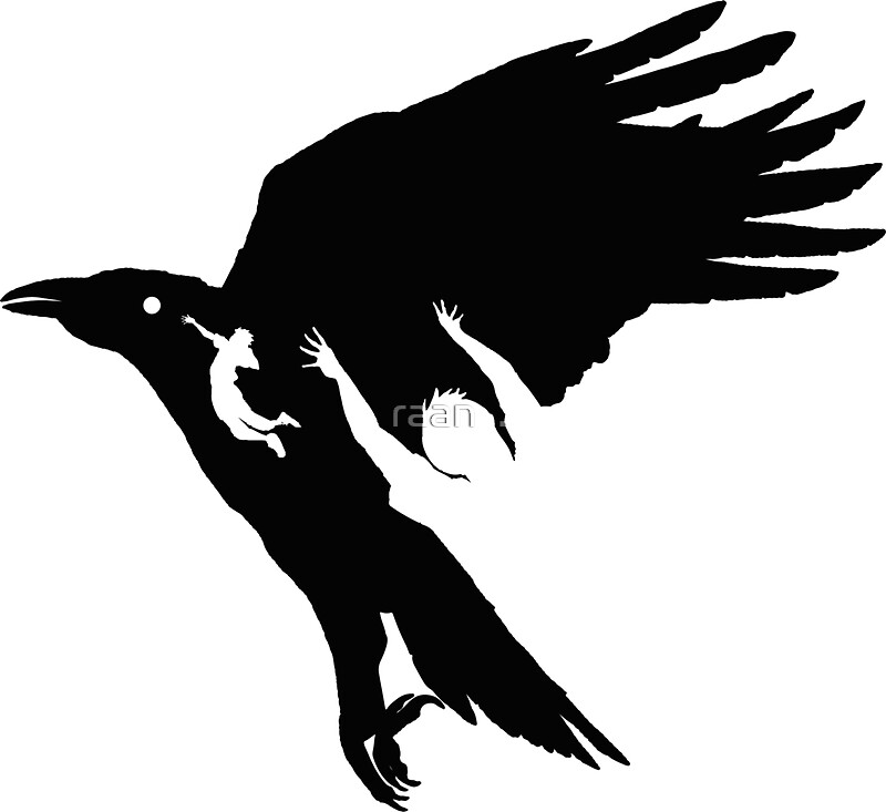 flying raven outline