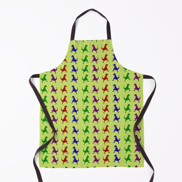 Colorful Dinosaurs in Green Background  Apron