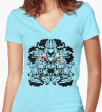 Teenage Mutant Ninja Rorschach Women's Fitted V-Neck T-Shirt
