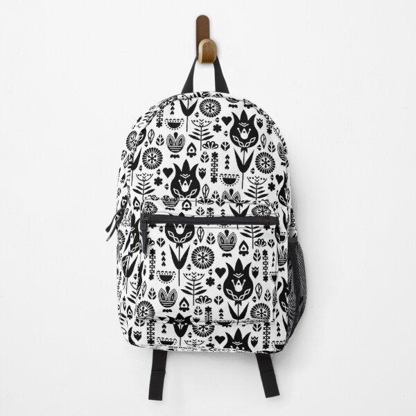black white minimal flower pattern Backpack
