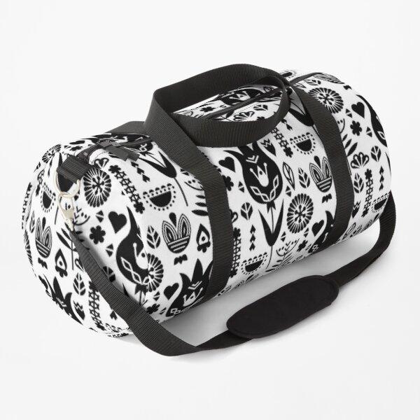 black white minimal flower pattern Duffle Bag