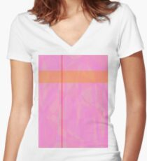 Minimalism Pink Marble Women's Fitted V-Neck T-Shirt