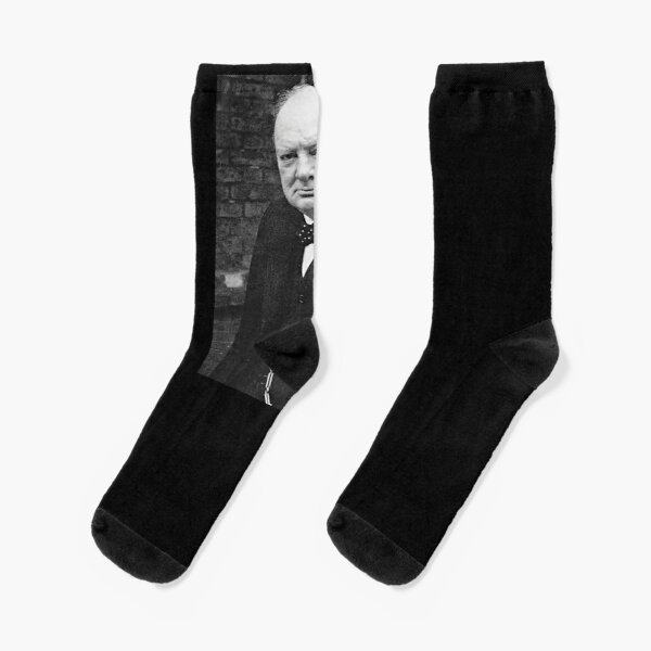 Winston Churchill, Prime Minister of the United Kingdom from 1940 to 1945 and from 1951 to 1955. Socks