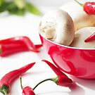 fresh mushrooms with chilli decorated by Aviana