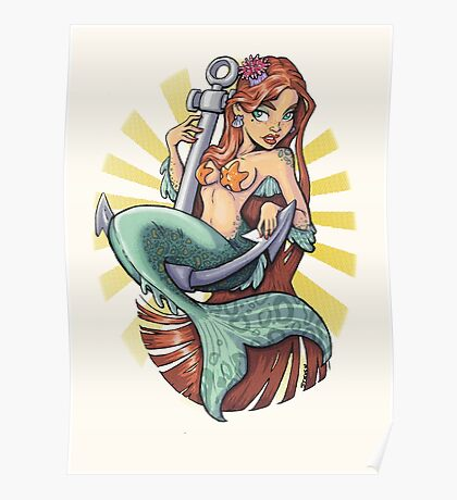 Mermaid on anchor Poster