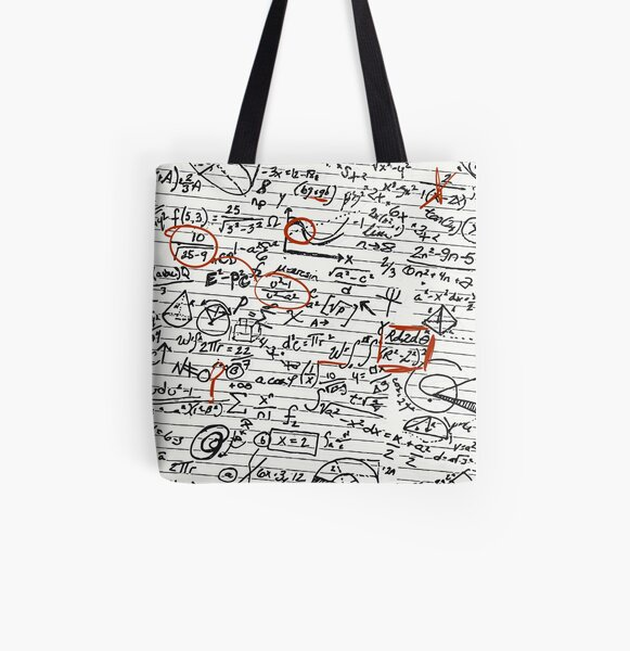 Math Geek Handwritten Notes All Over Print Tote Bag
