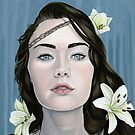 Longing Portrait of Girl with Lilies by plantiebee