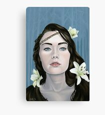 Longing Portrait of Girl with Lilies Canvas Print